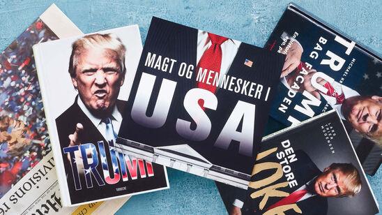 Forsider af bøger og blade med Donald Trump