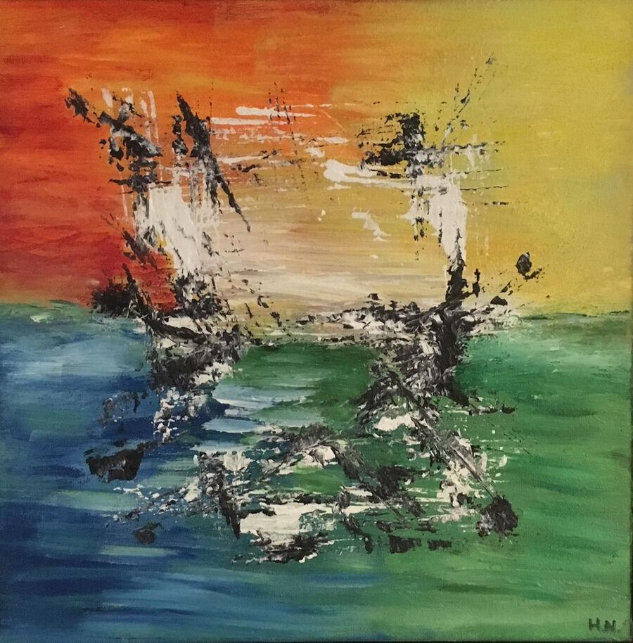Hanne T. Nielsen udstiller malerier på Nysted Bibliotek