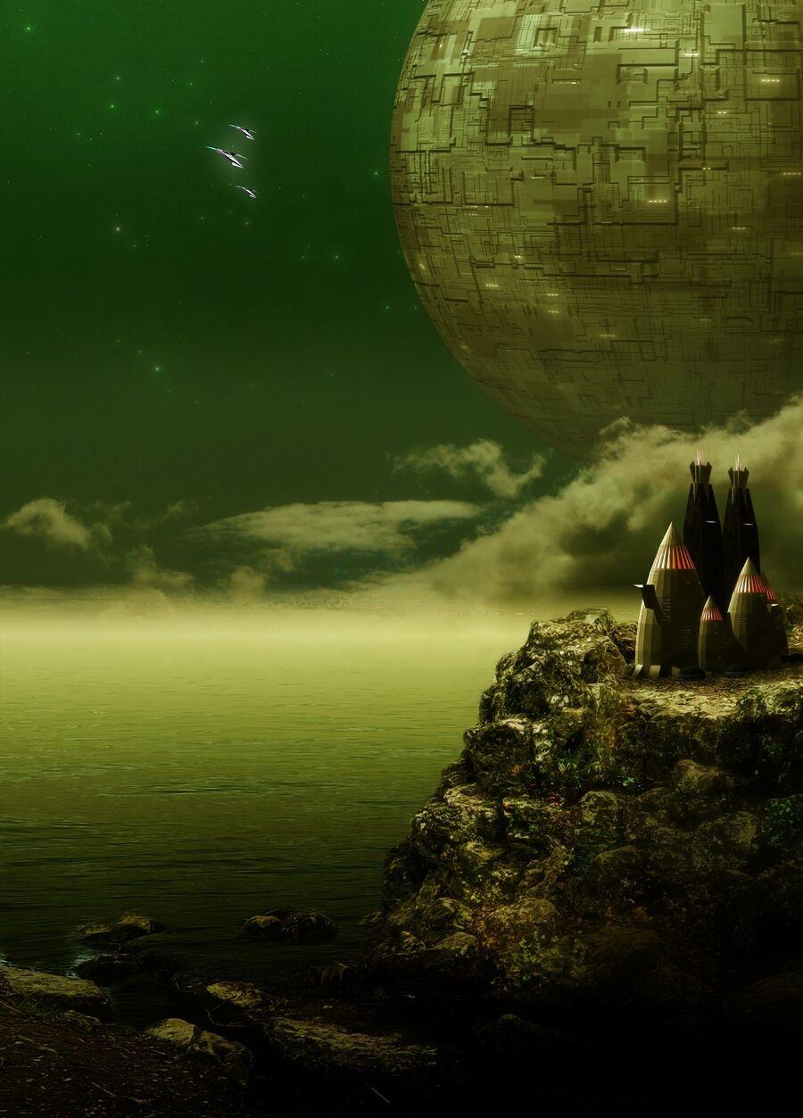 udsigt til en klar nattehimmel fra en planet og med dødsstjernen hængende ude i rummet