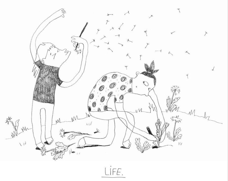 Line Kjeldsen Jensen udstiller sine tegninger på Stubbekøbing Bibliotek
